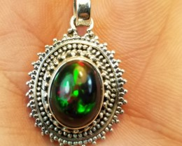 NATURAL ETHIOPIAN OPAL PENDANT 925 STERLING SILVER