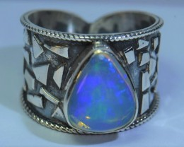 Sz8.5 SOLID CRYSTAL BLUE OPAL HIGH QUALITY .925 STERLING FABULOUS MOSAIC RI