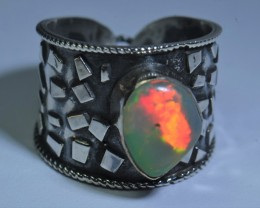 Sz8 SOLID CRYSTAL RED OPAL HIGH QUALITY .925 STERLING FABULOUS MOSAIC RING