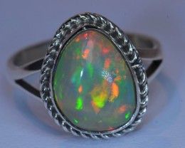 Sz7 SOLID CRYSTAL RED OPAL HIGH QUALITY .925 STERLING FABULOUS RING