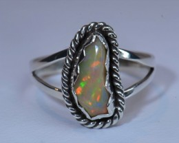Sz8 SOLID CRYSTAL RED OPAL HIGH QUALITY .925 STERLING FABULOUS RING