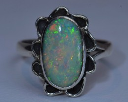 Sz6 SOLID  OPAL HIGH QUALITY .925 STERLING FABULOUS RING