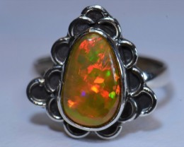 Sz3 MIDI  ETHIOPIAN  SOLID OPAL QUALITY .925 STERLING FABULOUS RING