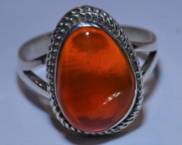 Sz7 CHERRY CRYSTAL RED OPAL HIGH QUALITY .925 STERLING FABULOUS RING
