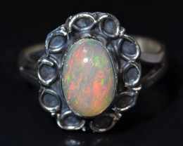 Sz6.5  ETHIOPIAN  SOLID OPAL QUALITY .925 STERLING FABULOUS RING
