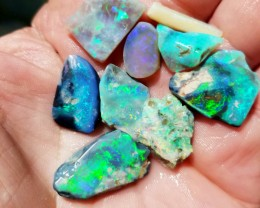 Lightning Ridge Black Opal Rubs - Australian Opal Shell base