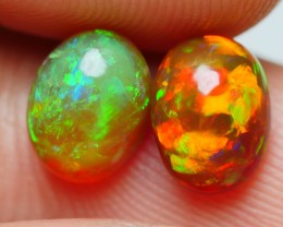 1.60 CRT BRILLIANT PAIR ROLLINGFLASH GRENISH RED FIRE PATTERN WELO OPAL