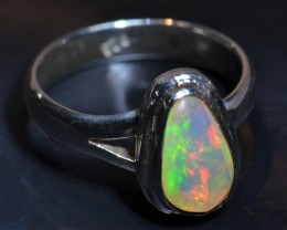 Sz4 MIDI RING QUALITY .925 STERLING FABULOUS OPAL