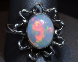 Sz6.5 BLAZING OPAL  RING QUALITY .925 STERLING FABULOUS OPAL