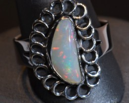 Sz8  WHITE  SOLID OPAL QUALITY .925 STERLING FABULOUS RING