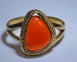 6.5ct Bright Mexican Fire Opal .925 Sterling Silver & Plated Gold