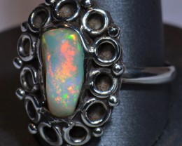 Sz8.5 SOLID CRYSTAL OPAL HIGH QUALITY .925 STERLING FABULOUS RING