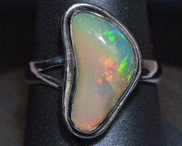 Sz5 SOLID CRYSTAL OPAL HIGH QUALITY .925 STERLING FABULOUS RING