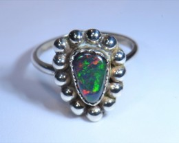 Sz8 MEXICAN OPAL DOUBLET .925 STERLING SILVER RING