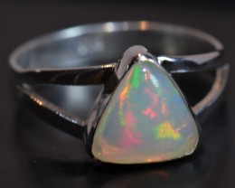 Sz7 SOLID CRYSTAL WELO OPAL HIGH QUALITY .925 STERLING FABULOUS RING