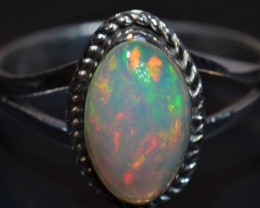 Sz9.5 SOLID CRYSTAL OPAL HIGH QUALITY .925 STERLING FABULOUS RING