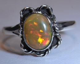 Sz11.5 SOLID WELO CRYSTAL OPAL HIGH QUALITY .925 STERLING FABULOUS RING