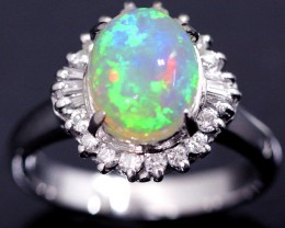 Beautiful crystal opal stone set in platinum ring