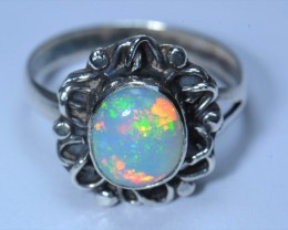 Sz5.75 SOLID CRYSTAL OPAL HIGH QUALITY .925 STERLING FABULOUS RING