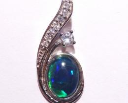 Pretty Australian Gem Grade Triplet Opal and Sterling Silver Pendant
