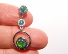 Pretty Australian Gem Grade Triplet Opal and Sterling Silver Pendant