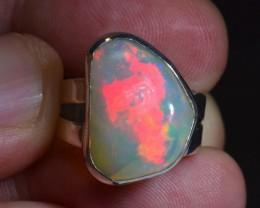 Sz 6.5 Large  Ethiopian Opal .925 Silver Taxco Handmade Boho Ring Jewelry