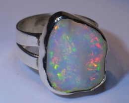 Sz 6 Large Ethiopian Opal .925 Silver Taxco Handmade  Ring Jewelry