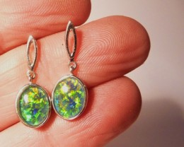 Bright Australian Triplet Opal and Sterling Silver Earrings