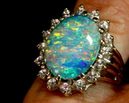 Large Boulder Opal Halo ring. Exquisite, once-in-a-lifetime statement ring.
