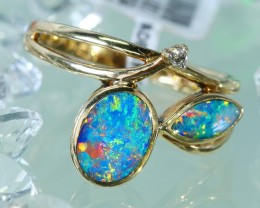 Cute  Opal Doublet opal in 14k Yellow  gold Ring size 7.5  SU1336