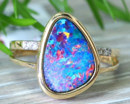 Cute  Opal Doublet opal in 14k Yellow  gold Ring size 7  SU1337