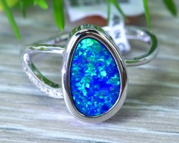 Cute  Opal Doublet opal in 14k white  gold Ring size 7  SU1338