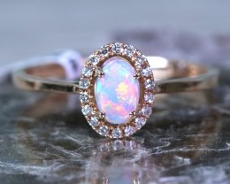 Cute  Opal Crystal plus Diamonds in 14k Yellow  gold Ring size 7  SU1341