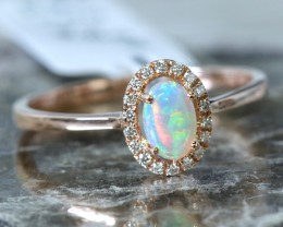 Cute  Opal Crystal plus diamonds in 14k Yellow  gold Ring size 7  SU1342