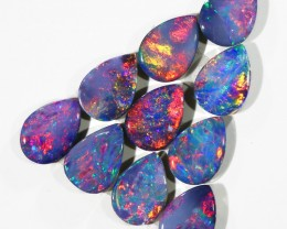 3.71CTS 10PIECES CALIBRATED OPAL DOUBLET PARCEL GREAT COLOR PLAY -S207