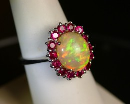 Burmese Ruby and Ethiopian opal ring.  Beautiful engagement ring or cocktai