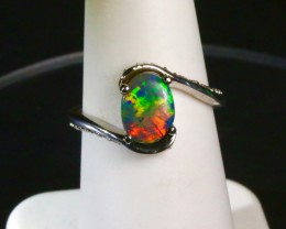 Black Opal Engagement Ring with SI-1 diamond accents.
