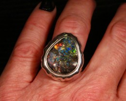 Big Boulder opal Unisex ring in Sterling Silver. For Men or Women.
