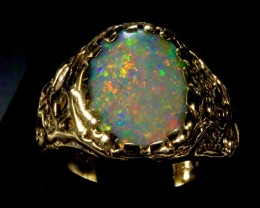 Men's BIG Black Opal Ring in 12 grams of14K solid yellow gold.