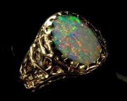 Men's BIG black opal ring in 14K Solid gold. 12 grams of gold! Created by opal ring designer Amy Klitsner.