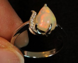 13ct Ethiopian Welo Opal 925 Sterling Silver Ring US7