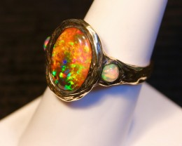 Sunset orange Ethiopian opal ring. Solid Yellow gold.Unisex.Men or Women.
