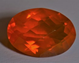 4.34CT  MANDARINE WITH BLUE SPARKLE MEXICAN FIRE OPAL BRIGHT  FACETED STONE