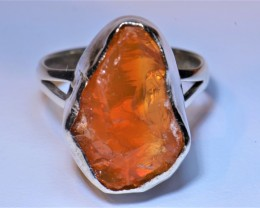 7.5sz MEXICAN  ROUGH FIRE OPAL QUALITY .925 STERLING FABULOUS RING
