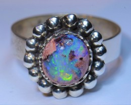 7.5sz MEXICAN  MATRIX OPAL QUALITY .925 STERLING FABULOUS RING