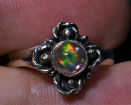 7.5sz MEXICAN WATER  OPAL QUALITY .925 STERLING FABULOUS RING