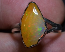 7sz ETHIOPIAN  OPAL QUALITY .925 STERLING FABULOUS RING