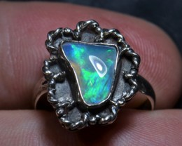 6sz BLUE ETHIOPIAN  OPAL QUALITY .925 STERLING FABULOUS RING