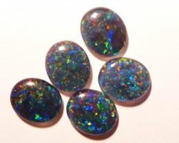 Parcel of 5 Australian Opal Triplets B+ Grade 12x10mm Multicolours (3178)