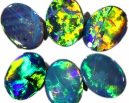 4.66 CTS  6 OPAL DOUBLET PARCEL DEAL GREAT COLOUR PLAY-A16